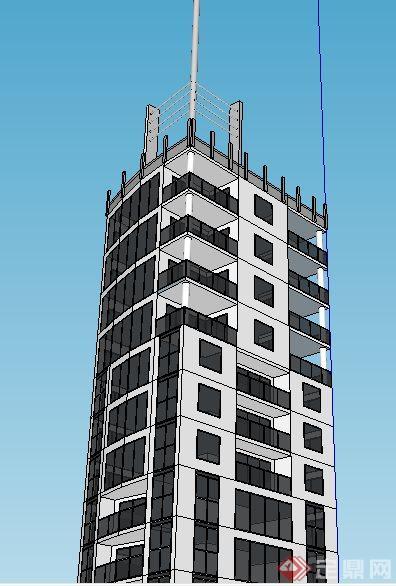 现代高层广播中心建筑设计su模型(3)