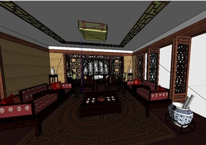 中式书房及客厅室内设计SU(草图大师)模型