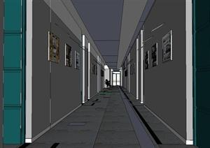 某现代风格学校走廊室内装饰设计SU(草图大师)模型