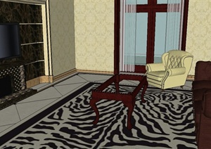 某新古典风格客厅室内装饰设计SU(草图大师)模型