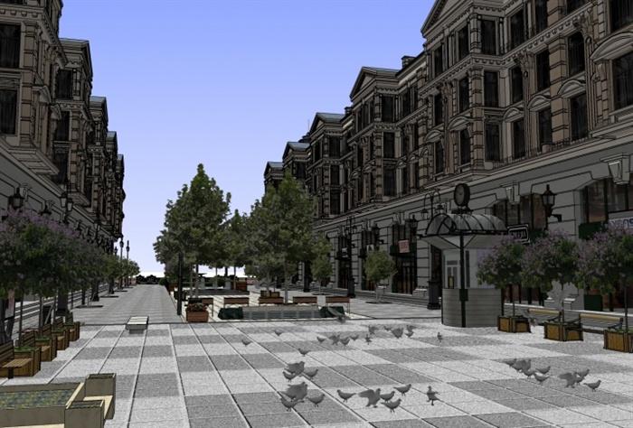 欧式古典商业街建筑及景观设计su模型图片