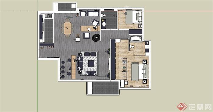 某美式风格住宅室内装饰设计su模型[原创]