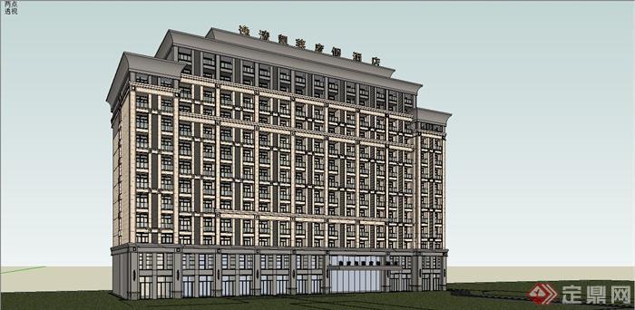 某簡約歐式風格小高層酒店建筑設計SU模型,附件包含SU模型,模型有材質貼圖,設計細致, 高層建筑,歐式風格,可直接用于相關建筑景觀設計時使用,歡迎下載。