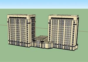 酒店式公寓建筑设计SU(草图大师)模型-居住区住宅建筑项目