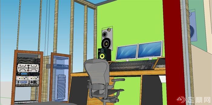 某现代风格音控室装饰设计SU模型(2)