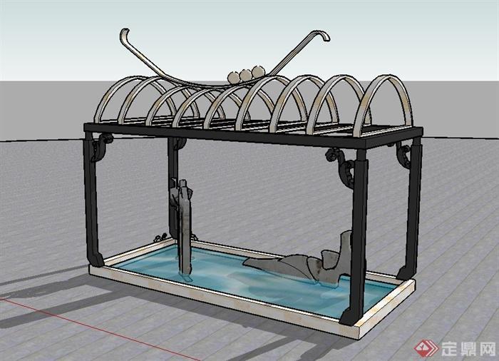 某欧式风格铁艺廊架水池设计su模型[原创]