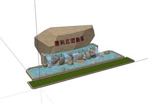 某现代风格进景石水景设计SU(草图大师)模型