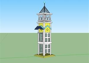 某美式风格详细景观塔楼设计SU(草图大师)模型