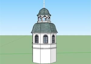 某美式风格详细景观塔楼建筑设计SU(草图大师)模型