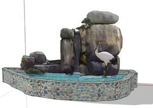 叠石景观水池设计SU(草图大师)模型