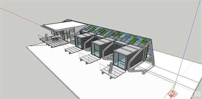 某现代别墅集装箱式阳光风格建筑设计SU模型旭海辉别墅住宅图片