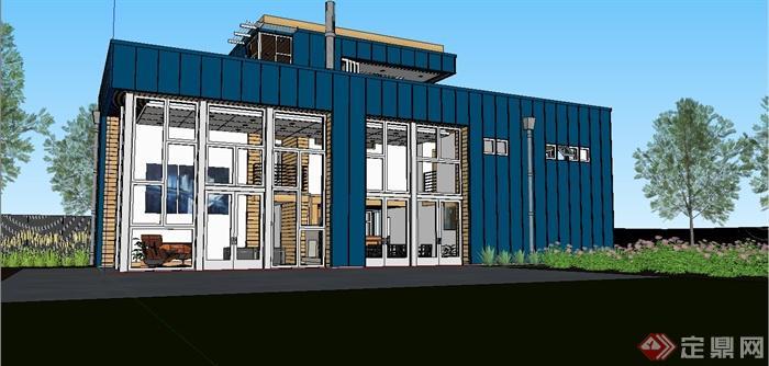 某现代住宅精致集装风格别墅箱式建筑设计SU防盗窗别墅装如何图片