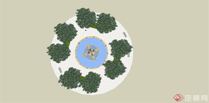 某现代风格圆形喷泉设计su模型[原创]