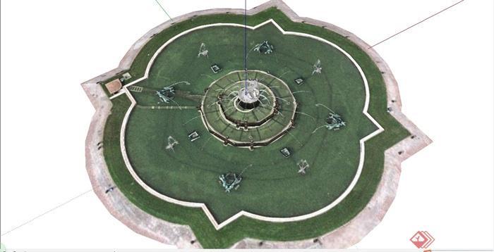 某简约欧式风格圆形喷泉水池设计su模型[原创]