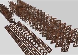 古典中式风格花格栅镂空隔断设计合集SU(草图大师)模型