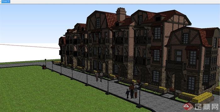 某德式风格联排别墅建筑设计SU模型图片