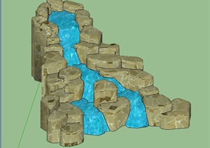叠石水流景观SU(草图大师)模型