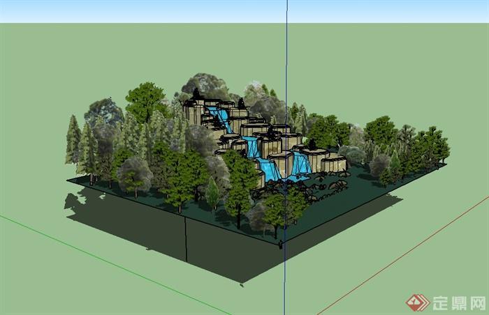 某园林景观假山跌水水景设计su模型[原创]