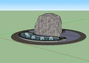 某现代风格景石喷泉水池设计SU(草图大师)模型