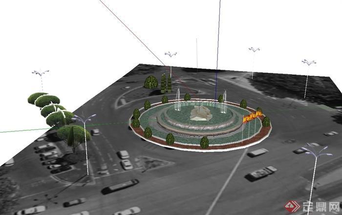 现代风格环形路水景喷泉设计SU模型图片