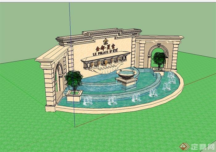 某欧式风格住宅小区入口景墙喷泉水景设计su模型,模型为欧式风格,模型制作详细精致完整,模型有材质贴图,具有很好的使用价值,有需要请下载使用。
