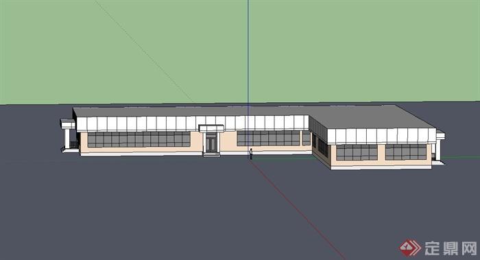 现代风格单层食堂建筑设计su模型[原创]