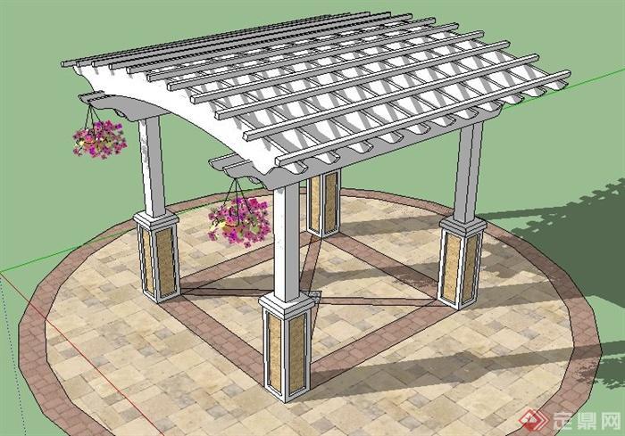 欧式拱形顶廊架设计su模型[原创]