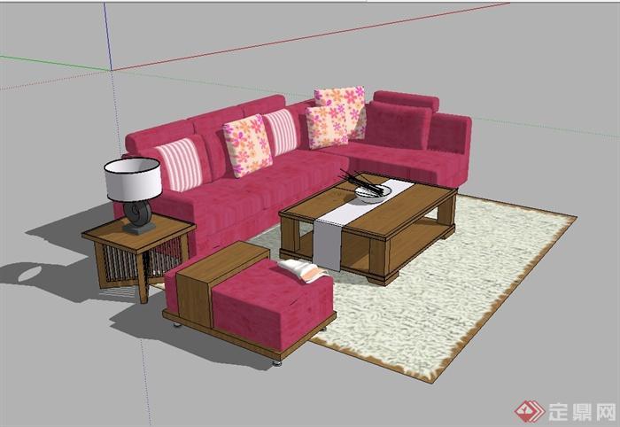 某现代风格详细精完整沙发茶几设计SU模型(1)