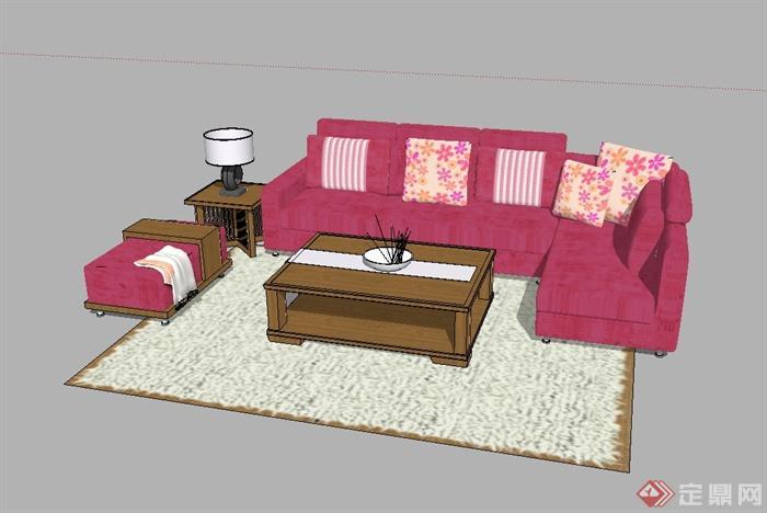 某现代风格详细精完整沙发茶几设计SU模型(2)