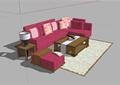 某現代風格詳細精完整沙發茶幾設計SU模型
