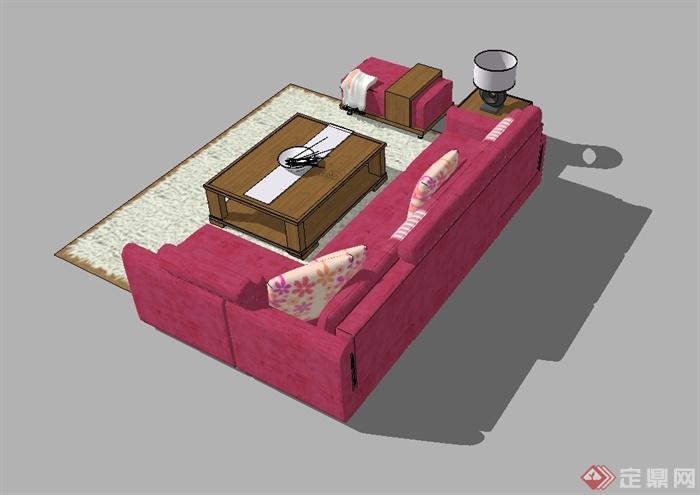 某现代风格详细精完整沙发茶几设计SU模型(4)