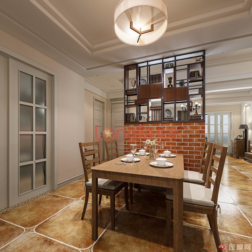 餐厅·玄关·美式风格·装修效果图
