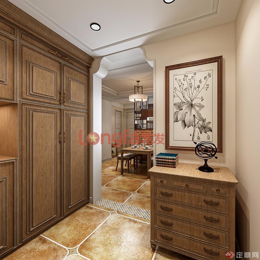 入戶門廳·鞋柜·端景墻·美式風格·裝修效果圖