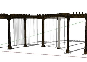 带纱帘景观廊架设计SU(草图大师)模型