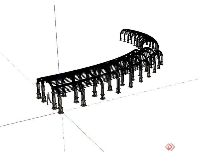 欧式风格拱形详细廊架设计su模型[原创]