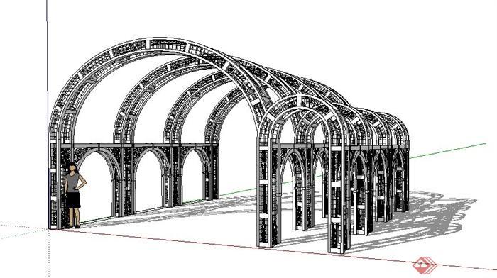 现代拱形顶景观廊架设计su模型[原创]