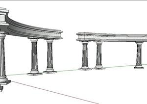 欧式罗马柱景观架设计SU(草图大师)模型