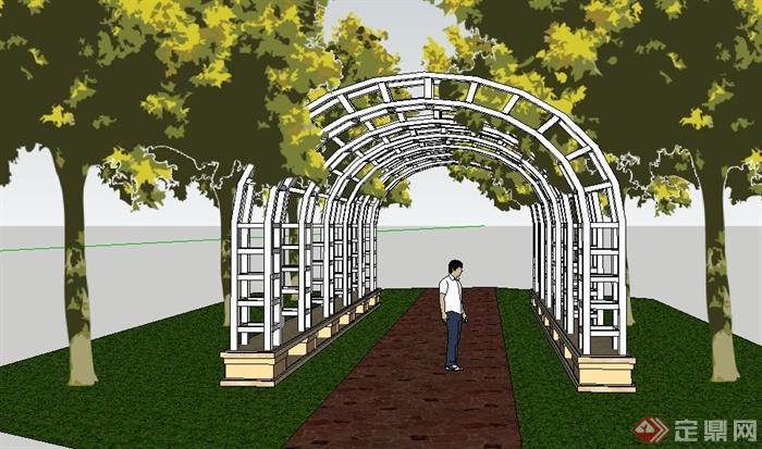 现代双边拱形廊架设计su模型[原创]