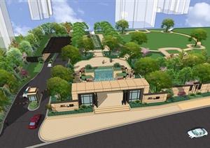 某新古典风格住宅小区景观设计SU(草图大师)模型