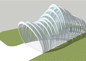 某现代风格详细玻璃车库廊设计SU(草图大师)模型