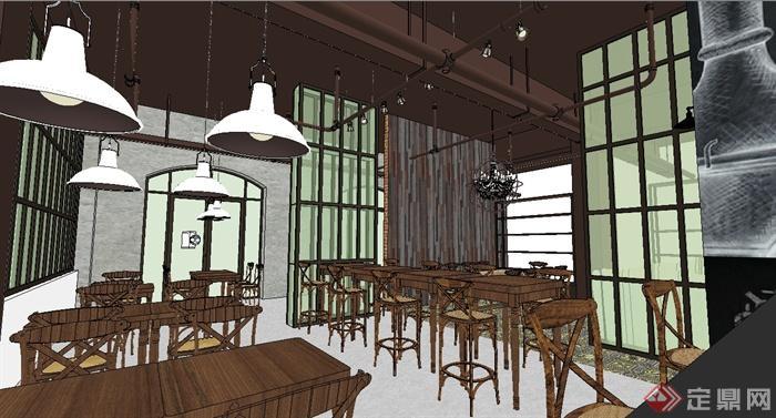 欧式咖啡厅室内设计su模型[原创]