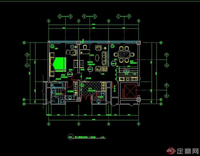 代风格详细多层酒店客房平面设计设计cad方案