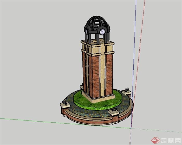 某欧式风格独特详细钟楼设计su模型[原创]