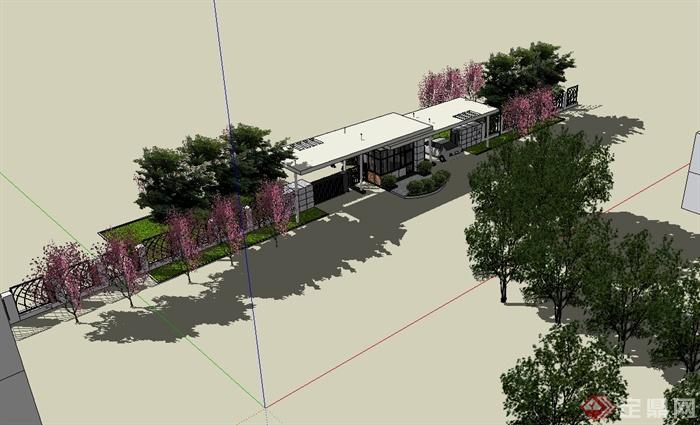 现代风格详细入口小区大门设计su模型[原创]