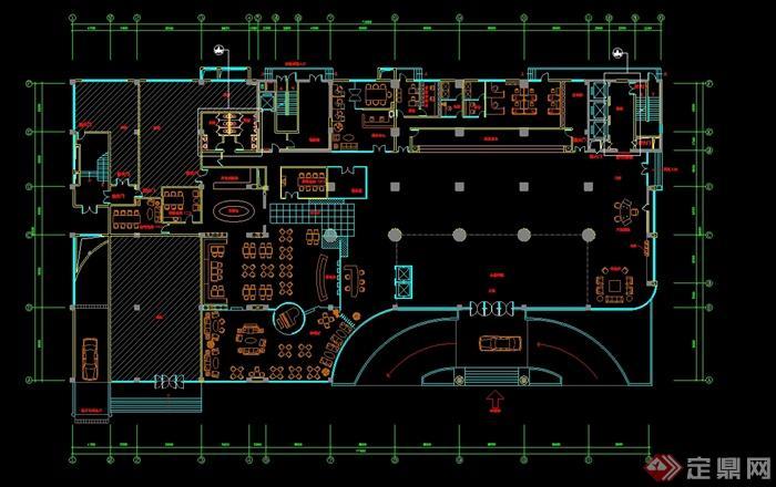 某现代风格详细餐饮空间设计cad平面图[原创]图片