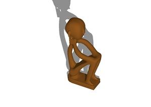 现代风格详细抽象人物雕塑设计SU(草图大师)模型