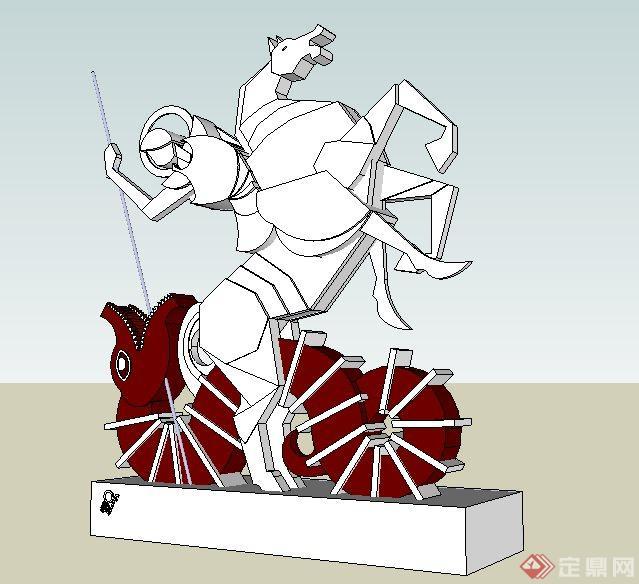 骑士与马匹雕塑su模型[原创]