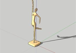 现代风格独特抽象人物雕塑设计SU(草图大师)模型