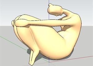 抱腿人物雕塑SU(草图大师)模型