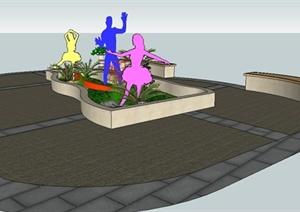 现代种植池、花钵、坐凳SU(草图大师)组合模型